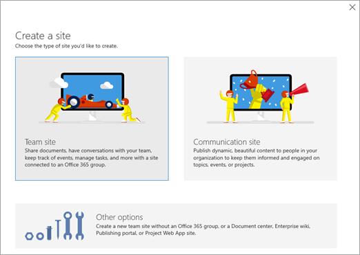 Create a SharePoint site